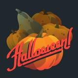 Счастливая нарисованная рука хеллоуина помечающ буквами открытки с тыквами Стоковое Фото