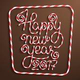Счастливая надпись конфеты Нового Года Иллюстрация штока