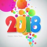 Счастливая Нового Года поздравительная открытка 2018 Стоковое Изображение RF