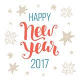 Счастливая Нового Года поздравительная открытка 2017 Стоковое Изображение