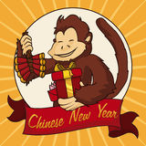 Счастливая обезьяна с фейерверками и подарками на китайский Новый Год, иллюстрация вектора Стоковое Фото