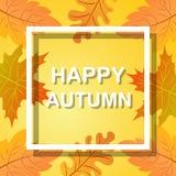 Счастливая осень, предпосылка падения с яркими золотыми кленовыми листами Стоковое Изображение RF