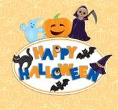 Счастливая доска хеллоуина круглая Стоковое Изображение