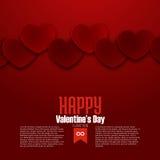 Счастливая открытка дня валентинки, красные сердца, вектор Стоковая Фотография