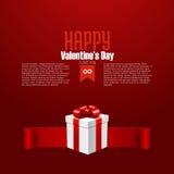 Счастливая открытка дня валентинки с подарочной коробкой, Стоковая Фотография