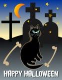 Счастливая открытка хеллоуина Пейзаж хеллоуина Кот хеллоуина черный на кладбище Призрачное изображение хеллоуина Пугающее cemeter Стоковое Изображение