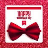 Счастливая открытка яркого блеска дня валентинки с смычком, вектором Стоковые Изображения RF