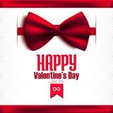 Счастливая открытка яркого блеска дня валентинки с смычком Стоковая Фотография