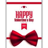 Счастливая открытка яркого блеска дня валентинки с смычком, Стоковое Изображение RF