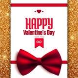 Счастливая открытка яркого блеска дня валентинки с смычком, Стоковые Фото
