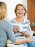 Счастливая дочь деля сплетни с зрелой мамой пока чай-drinkin Стоковое Изображение RF