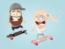 Счастливая пара катается на коньках Стоковое Фото