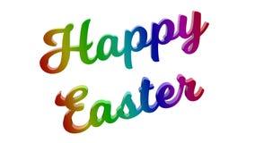 Счастливая пасха каллиграфическое 3D представила иллюстрацию текста покрашенный с градиентом радуги RGB Стоковое Фото