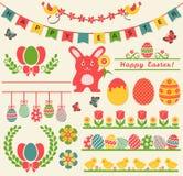 Счастливая пасха! Ретро элементы дизайна вектор комплекта сердец шаржа приполюсный Стоковое Фото