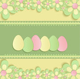 Счастливая пасха цветет зеленый цвет весны 3D яичка желтый Стоковая Фотография RF