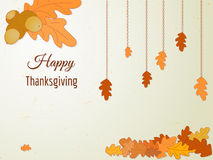 Счастливая поздравительная открытка благодарения с листьями и жолудем дуба Стоковое фото RF