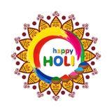 Счастливая поздравительная открытка вектора Holi с мандалой, традиционным красочным gulal порошком и цветом брызгает Стоковые Фото