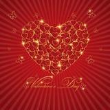 Счастливая поздравительная открытка влюбленности дня валентинки с сердцем золота на Re Иллюстрация штока