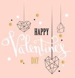 Счастливая поздравительная открытка влюбленности дня валентинок с белой низкой поли формой сердца стиля в золотой предпосылке ярк иллюстрация штока