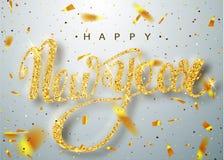Счастливая поздравительная открытка литерности Нового Года на праздник Стоковое Изображение RF