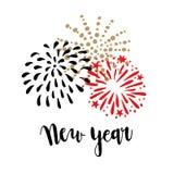 Счастливая поздравительная открытка Нового Года, приглашение Почистьте текст щеткой литерности с фейерверками doodle нарисованным Стоковое Изображение