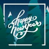 Счастливая поздравительная открытка Нового Года с литерностью Стоковые Изображения RF