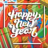Счастливая поздравительная открытка Нового Года с литерностью Стоковое Фото