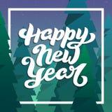 Счастливая поздравительная открытка Нового Года с литерностью Стоковое фото RF