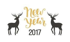 Счастливая поздравительная открытка Нового Года с оленями нарисованными рукой Стоковое Изображение RF