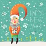 Счастливая поздравительная открытка Нового Года с Санта Клаусом и снежинками Иллюстрация штока