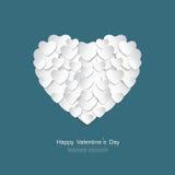 Счастливая поздравительная открытка дня валентинки с белой бумагой сердца отрезала s Иллюстрация штока