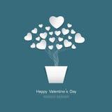 Счастливая поздравительная открытка дня валентинки с белой бумагой сердца отрезала s Иллюстрация вектора