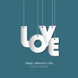 Счастливая поздравительная открытка дня валентинки с бумагой текста влюбленности отрезала хлев Иллюстрация штока
