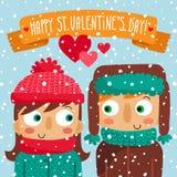 Счастливая поздравительная открытка дня валентинки с парами Стоковое Изображение