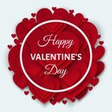 Счастливая поздравительная открытка дня валентинок с красными сердцами Стоковые Фото