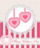 Счастливая поздравительная открытка дня валентинок с 2 сердцами шнурка в ретро стиле также вектор иллюстрации притяжки corel Стоковая Фотография