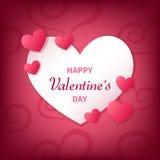Счастливая поздравительная открытка дня ` s валентинки с белыми и розовыми сердцами иллюстрация вектора