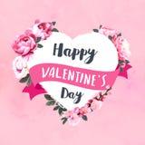 Счастливая поздравительная открытка дня ` s валентинки с пионами акварели иллюстрация вектора