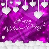 Счастливая поздравительная открытка дня ` s валентинки с сердцами и космос для текста Предпосылка вектора Стоковая Фотография RF
