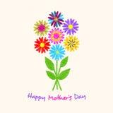 Счастливая поздравительная открытка дня ` s матери Букет цветков нарисованных вручную Стоковые Фотографии RF