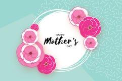 Счастливая поздравительная открытка дня ` s матери Розовый бумажный срезанный цветок Рамка круга Космос для текста Стоковое Фото
