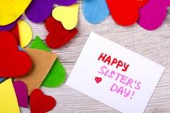 Счастливая поздравительная открытка дня ` s сестры Стоковая Фотография