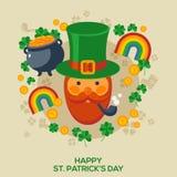Счастливая поздравительная открытка дня St Patricks иллюстрация вектора