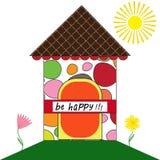 Счастливая поздравительная открытка дома Стоковая Фотография RF