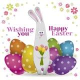 Счастливая поздравительная открытка пасхи вектор Стоковое Фото