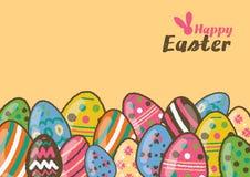 Счастливая поздравительная открытка пасхи и красочные пасхальные яйца Стоковое Изображение