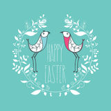 Счастливая поздравительная открытка пасхи праздничная с флористическим декоративным orname Стоковая Фотография