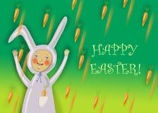 Счастливая поздравительная открытка пасхи с мальчиком кролика Стоковые Изображения