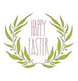 Счастливая поздравительная открытка пасхи с флористическим декоративным орнаментом, quot Стоковое Фото