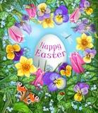Счастливая поздравительная открытка пасхи Pansy, тюльпан, daffodil, dragonfly, ladybug, бабочка, цветет рамка сердца с яичком едо иллюстрация вектора
